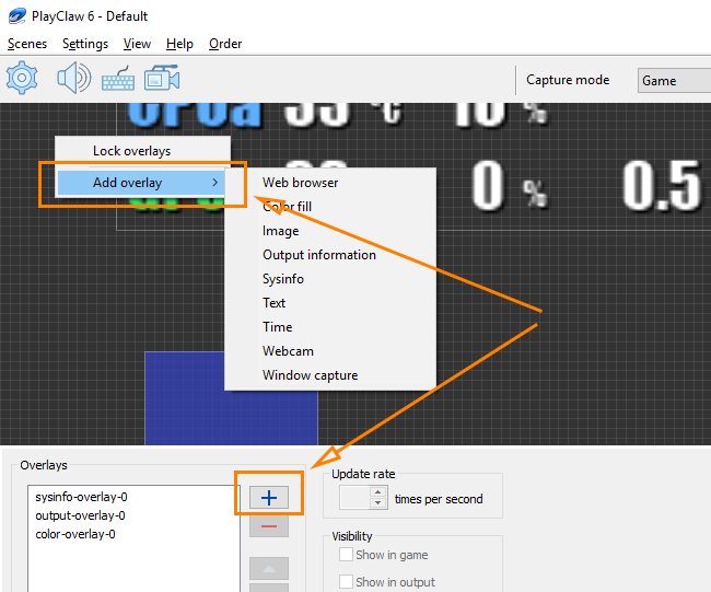 PlayClaw :: Scenes and Overlays settings